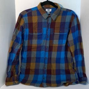 Old Navy Boys Husky 14 16 Blue Orange Plaid  Shirt